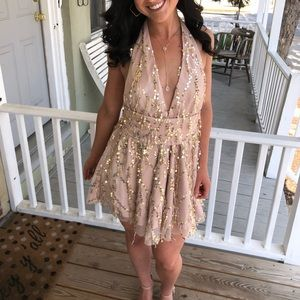 Rose gold dress with gold sequins